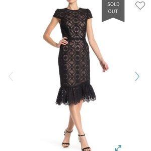 Betsey Johnson lace midi black dress 14 NWT